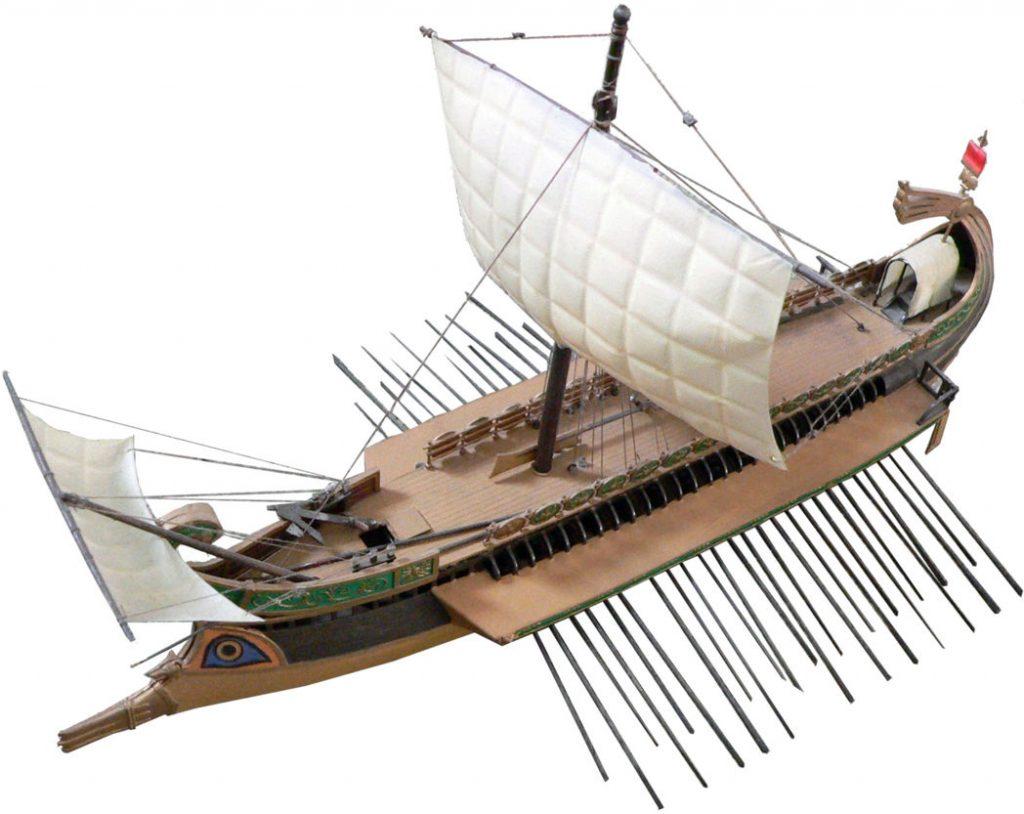 Zeilboot met vierkante zeilen