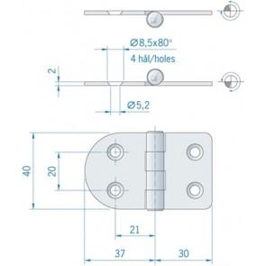Roca vlakscharnier rond/recht RVS 67 x 40 mm 441670