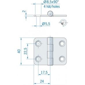 Roca vlakscharnier met ronde hoeken RVS 48 x 40 mm 441540