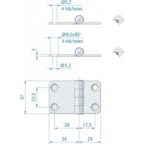 Roca vlakscharnier met ronde hoeken RVS 58 x 37 mm 441550