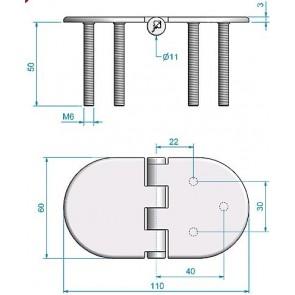 Roca vlakscharnier rond verdekt RVS 110 x 60 mm verdekt 449019