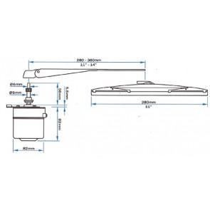 Standaard arm W5 Zwart/RVS 280-355mm