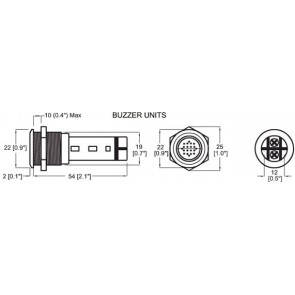 BEP buzzer en warninglight metaal 24v red led