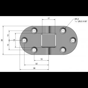 Roca tafelbladscharnier RVS 76 x 38 440401