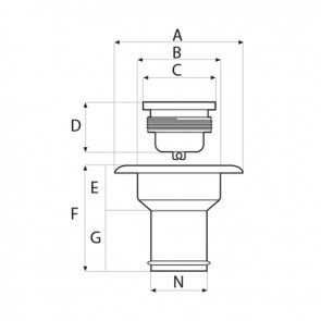Lalizas dekvuldop water - 38mm - kunststof