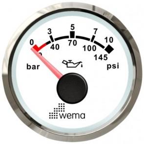 Wema Silver serie oliedruk 10 bar meter NMEA2000 wit