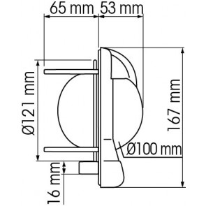 Plastimo Contest 101 inbouw schotkompas hellend zwart - rode roos conisch