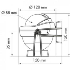 Plastimo Offshore 95 kompas wit, conische roos zwart, bracket afmetingen