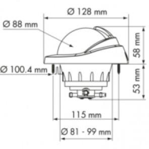 Plastimo Offshore 95 kompas wit, conische roos zwart, inbouw afmetingen