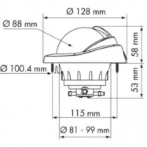 Plastimo Offshore 95 kompas zwart, conische roos zwart, inbouw