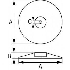Roer/Zwaard/Trimtab anode zink 90mm