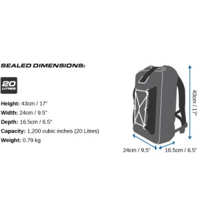 OverBoard Waterdichte Rugzak 20ltr Pro-light backpack black