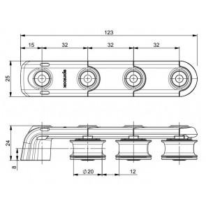 Spinlock T25 Valgeleider 3x25mm a-symetrisch