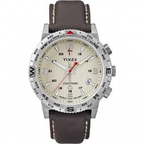 Timex IQ Compass bruin leren band