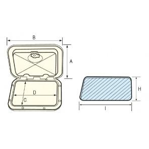 Lalizas top line hatch, white, 243x607mm