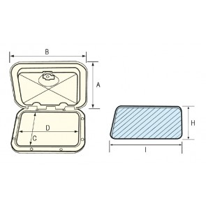 Lalizas top line hatch, white, 370x375mm