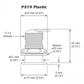 Transducer Airmar P319 dual freq.Diepte / Temperatuur
