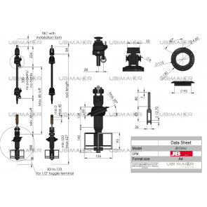 Ubi Maior Jiber TX Furling System for Cable Forestay, Discontinuous Line, Under Deck, Fitting 1/