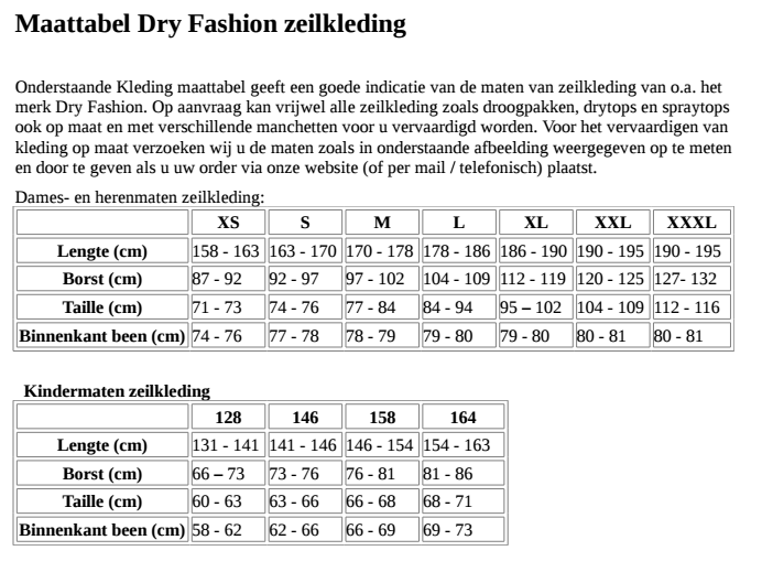 Dryfashion Zeilkleding maattabel